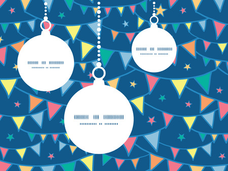 ball chains: Vector colorful doodle bunting flags Christmas ornaments silhouettes pattern frame card template Illustration