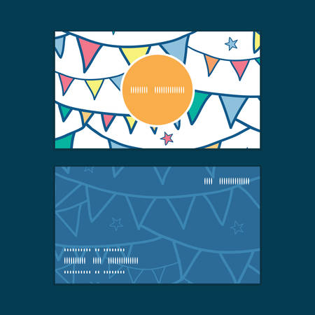 hang up: Vector colorful doodle bunting flags vertical round frame pattern business cards set