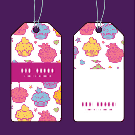Vector colorful cupcake party vertical stripe frame pattern tags set Illustration