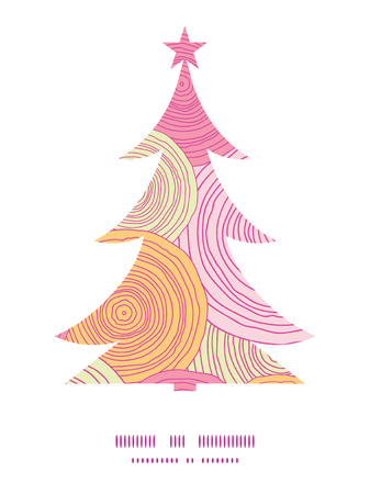 tree disc: Vector doodle circle texture Christmas tree silhouette pattern frame card template Illustration