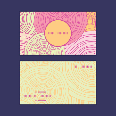 Vector doodle circle texture vertical round frame pattern business cards set Vector