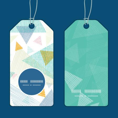 etiquetas de ropa: Etiquetas patr�n marco redondo del vector tri�ngulos de tela abstracta vertical colocada