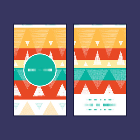 Vector vibrant ikat stripes vertical round frame pattern business cards set Illustration