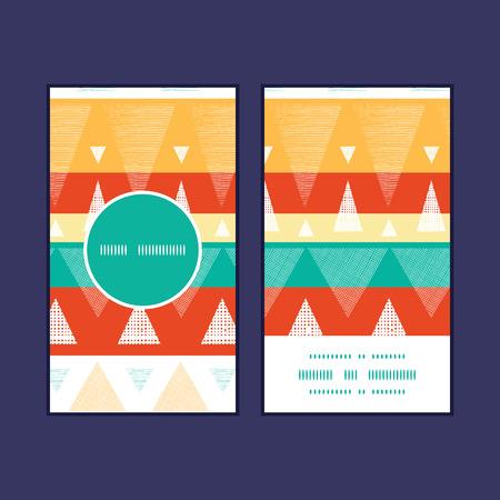 Vector vibrant ikat stripes vertical round frame pattern business cards set Vettoriali