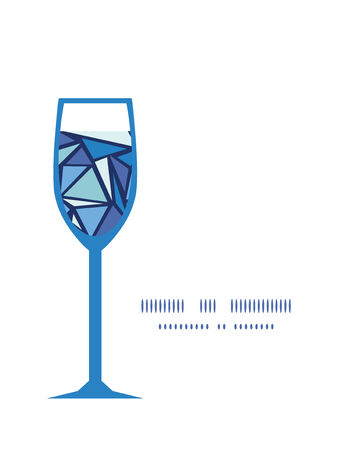 chrystals: Vector abstract ice chrystals wine glass silhouette pattern frame
