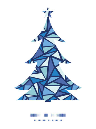 chrystals: Vector abstract ice chrystals Christmas tree silhouette pattern frame card template