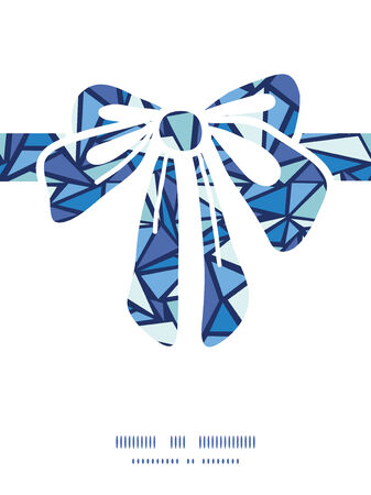 Vector abstract ice chrystals gift bow silhouette pattern frame