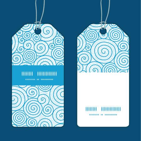 Vector abstract swirls vertical stripe frame pattern tags set Çizim