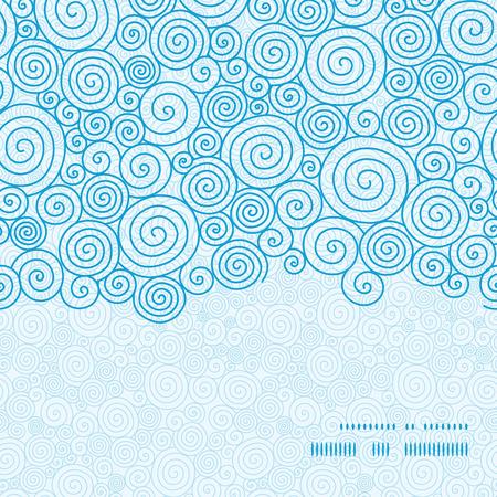 Vector abstract swirls horizontal frame seamless pattern background Illustration