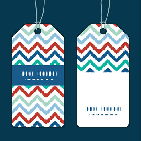 Vector colorful ikat chevron vertical stripe frame pattern tags set Vector