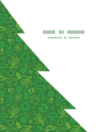 energy icon: Vector ecology symbols Christmas tree silhouette pattern frame card template Illustration