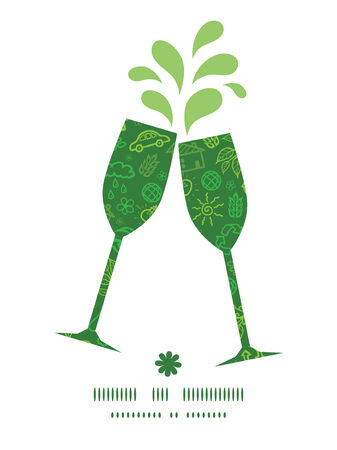 Vector ecology symbols toasting wine glasses silhouettes pattern frame