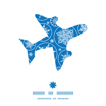 Vector falling snowflakes airplane silhouette pattern frame Vector