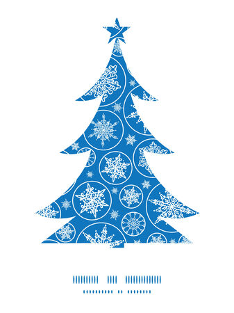 Vector falling snowflakes Christmas tree silhouette pattern frame card template Vector