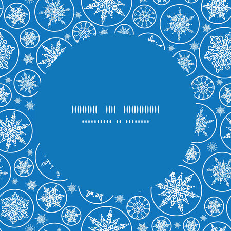 Vector falling snowflakes frame seamless pattern background Vector