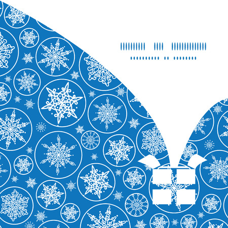 Vector falling snowflakes Christmas gift box silhouette pattern frame card template Vector