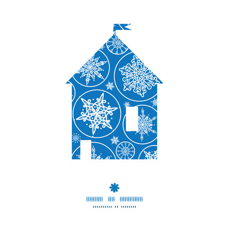 Vector falling snowflakes house silhouette pattern frame Vector