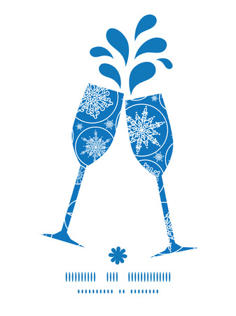 toasting wine: Vector falling snowflakes toasting wine glasses silhouettes pattern frame Illustration