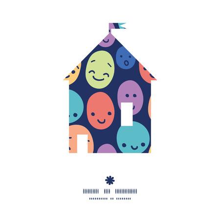 Vector funny faces house silhouette pattern frame Ilustração