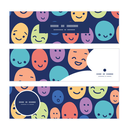 dark face: Vector funny faces horizontal banners set pattern background Illustration