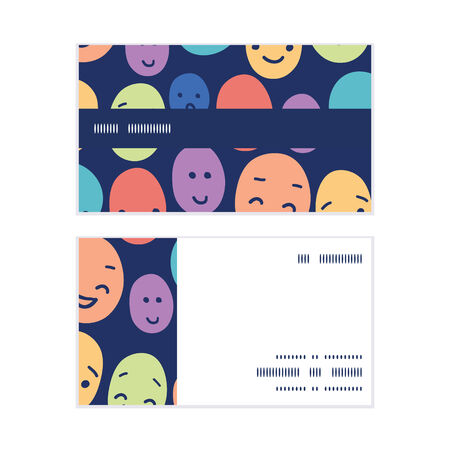 Vector funny faces horizontal stripe frame pattern business cards set