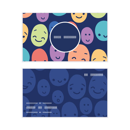 Vector funny faces vertical round frame pattern business cards set