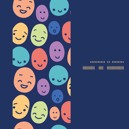 funny faces: Vector funny faces vertical frame seamless pattern background