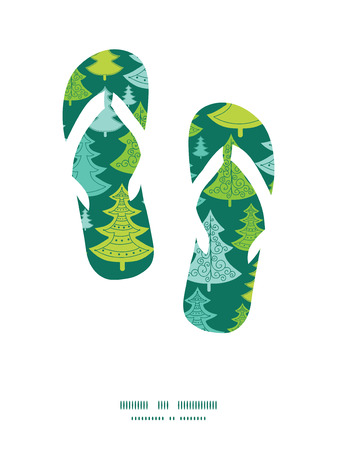 flipflops: Vector holiday christmas trees flip flops silhouettes pattern frame
