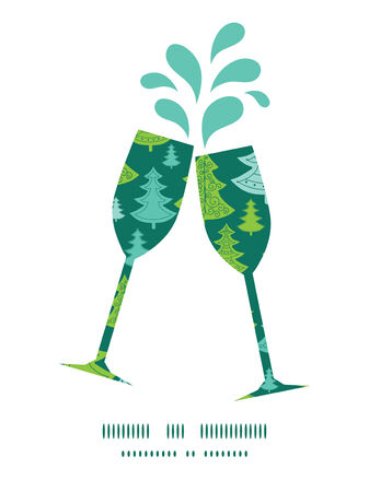 toasting wine: Vector holiday christmas trees toasting wine glasses silhouettes pattern frame
