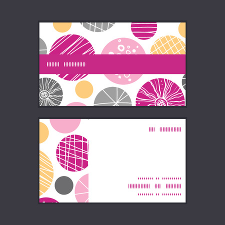 textile image: Vector abstract textured bubbles horizontal stripe frame pattern business cards set Illustration