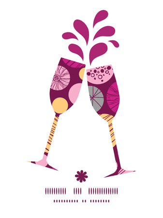toasting wine: Vector abstract textured bubbles toasting wine glasses silhouettes pattern frame