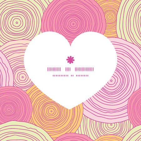 romantic: Vector doodle circle texture heart silhouette pattern frame Illustration