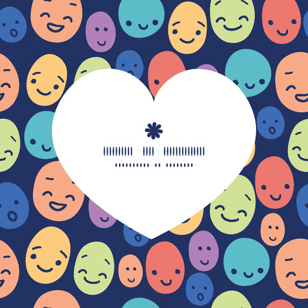funny faces: Vector funny faces heart silhouette pattern frame Illustration