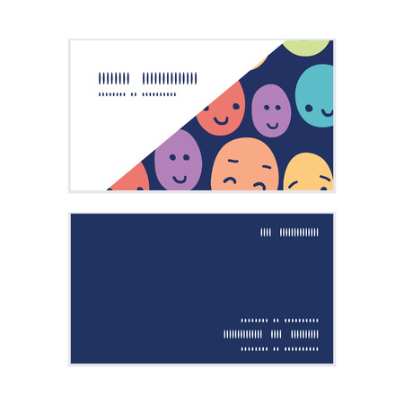 funny faces: Vector funny faces horizontal corner frame pattern business cards set