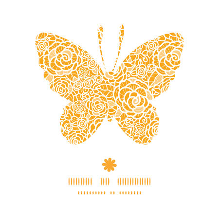 golden texture: Vector golden lace roses butterfly silhouette pattern frame