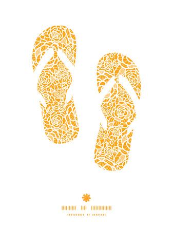 flipflops: Vector golden lace roses flip flops silhouettes pattern frame