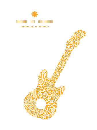ttemplate: Vector golden lace roses guitar music silhouette pattern frame Illustration