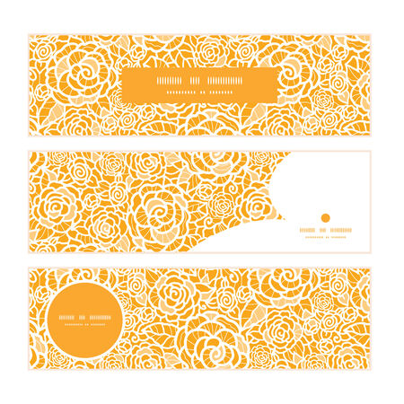 ttemplate: Vector golden lace roses horizontal banners set pattern background