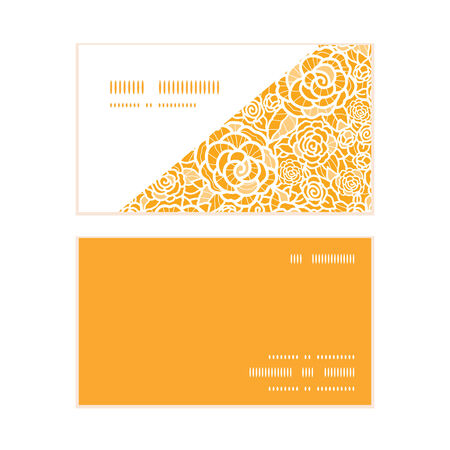 royal person: Vector golden lace roses horizontal corner frame pattern business cards set