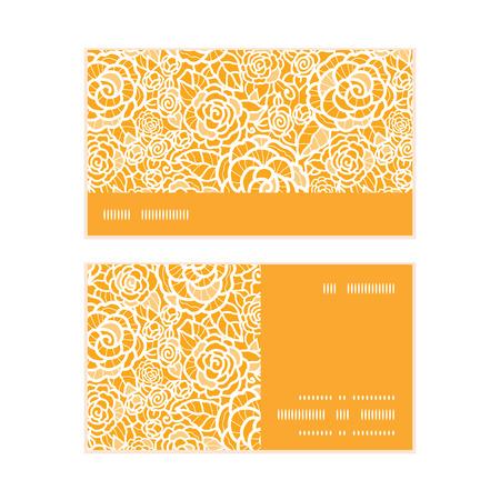 ttemplate: Vector golden lace roses horizontal stripe frame pattern business cards set