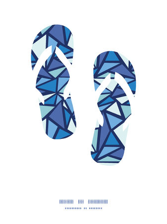 chrystals: Vector abstract ice chrystals flip flops silhouettes pattern frame