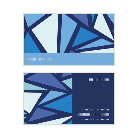 chrystals: Vector abstract ice chrystals horizontal stripe frame pattern business cards set Illustration