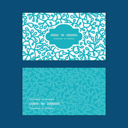 Vector abstract underwater plants horizontal frame pattern business cards set Vector
