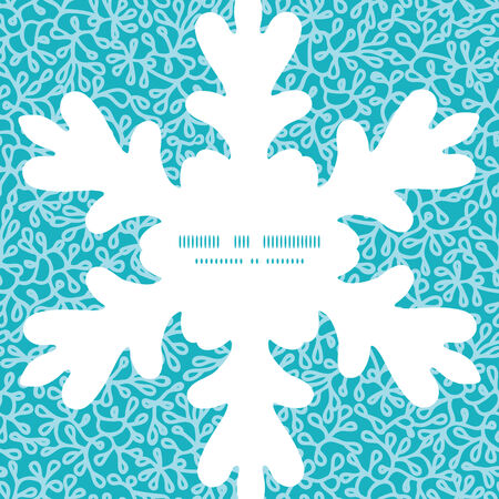 Vector abstract underwater plants Christmas snowflake silhouette pattern frame card template Vector