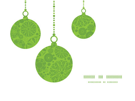 green swirl: Vector abstract green and white circles Christmas ornaments silhouettes pattern frame card template Illustration