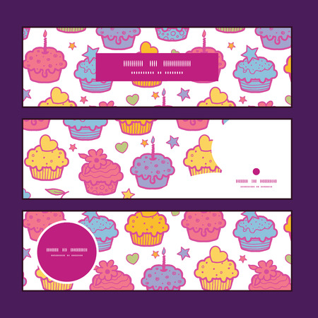 Vector colorful cupcake party horizontal banners set pattern background Çizim