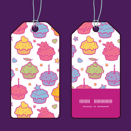 Vector colorful cupcake party vertical stripe frame pattern tags set 向量圖像