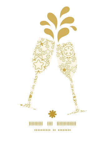 toasting wine: Vector abstract swirls old paper texture toasting wine glasses silhouettes pattern frame Illustration