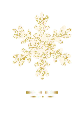 Vector abstract swirls old paper texture Christmas snowflake silhouette pattern frame card template