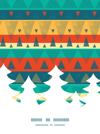 Vector vibrant ikat stripes Christmas tree silhouette pattern frame card template Vettoriali